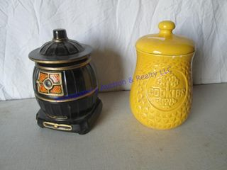MCCOY  COOKIES  JAR   POT BEllY STOVE BANKS