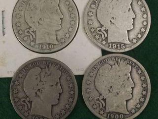 4- Silver Barber Half Dollars