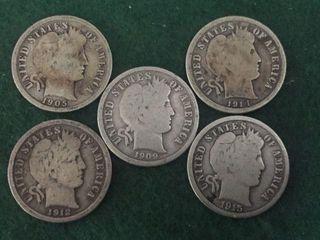 5- Silver Barber Dimes