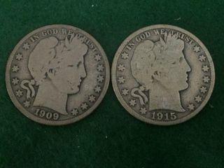 2- Silver Barber Half Dollars