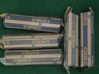 5- Rolls Jefferson Nickels
