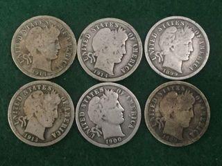 6- Silver Barber Dimes
