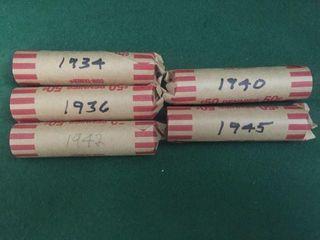 5- Rolls Wheat Pennies