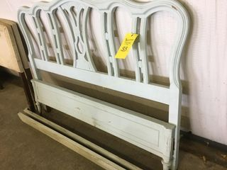 VINTAGE WOOD TWIN SIZE BED FRAME & SIDE RAILS