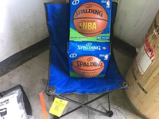 (2)NIB SPALDING BASKETBALLS & CAMPING CHAIR W/BAG