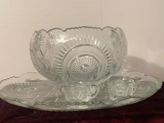 Glass Punch Bowl & Tray