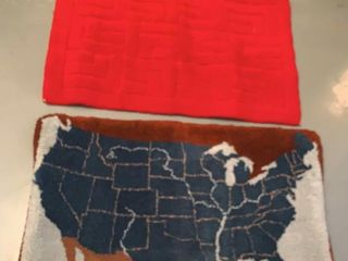 Wool Hooked Rug With Map of USA