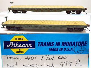 Pair of PRR 48969 &489690 Flat Cars Athearn HO