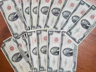 20 1953 RED SERIES $2 BILLS