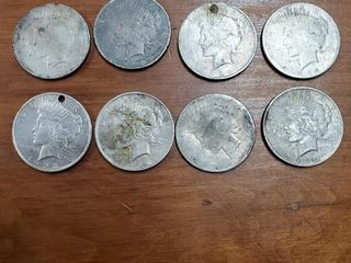 4 1922, 2 1923, 1 1925, 1 UNKNOWN PEACE DOLLARS
