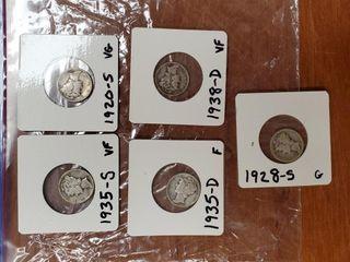 1935 S, 1920 S, 1935D, 1928S, 1938D MERCURY DIMES