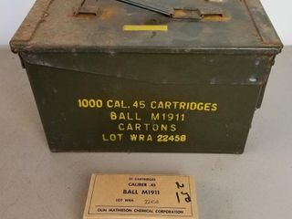 (1000RDS) .45 Cal Ball M1911 Ammo With Ammo Box