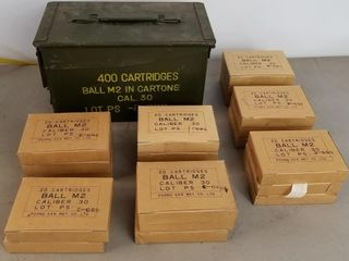 (400RDS) Cal .30 M2 Ball Ammo With Matching Box