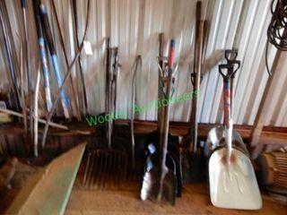 Assorted Shovels, Rakes, Scrapers, Brooms, Log
