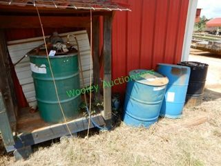 3 Metal 55 Gallon Drums w/ Pump Motor, and