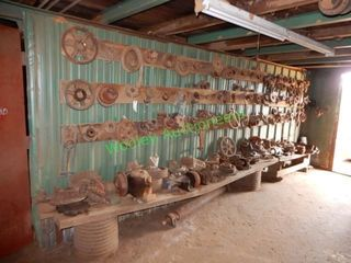 Large Group of Gears, Pulleys, Clamps, Bearings,