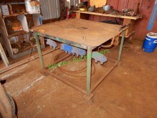 Custom Built 49? x 49? +/- Metal Shop Table On Whe