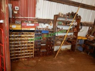 2 Parts Bins & Contents On Wooden Shelves