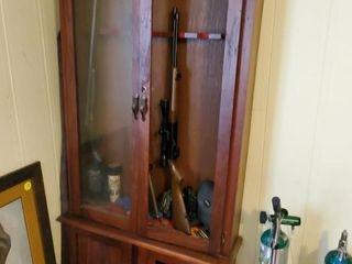 GUN CABINET - NEEDS LITTLE REPAIR