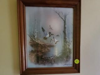 WOOD FRAMED FLYING DUCK PICTURE -