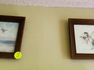 PAIR OF WOOD FRAMED FLYING DUCK PICTURES