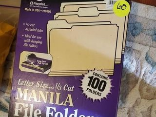 BOX OF MANILA FOLDERS AND HANGING FILES