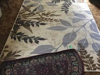 5x7 area leaf rug, half circle rug