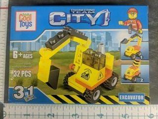 Lego style building blocks excavator