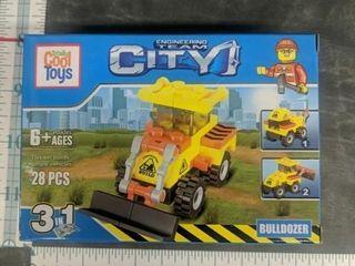 Lego style building blocks bulldozer