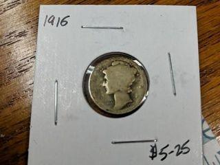 1916 Mercury dime