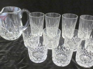 WATERFORD CRYSTAl PITCHER AND GlASSES