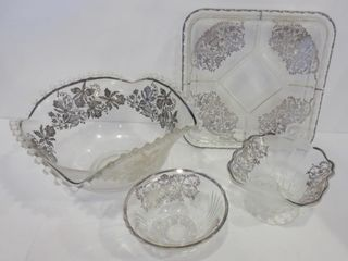 SERVING BOWlS  DIVIDED DISH WITH SIlVER OVERlAY
