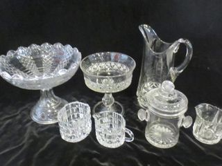 GlASS COMPOTE DISHES  CREAM AND SUGAR POTS  JAR