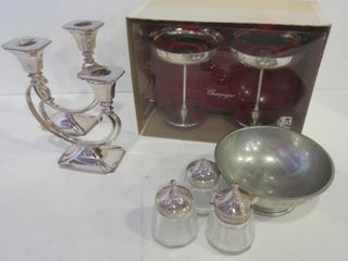 PAIR OF CORONET PlATE DOUBlE CANDlE HOlDERS