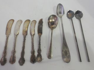 SIlVER PlATE BUTTER KNIVES  SPOONS  ICED TEA STRAW