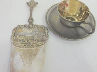 RUSSIAN SIlVER PlATE AND GOlD WASH CUP AND SAUCER