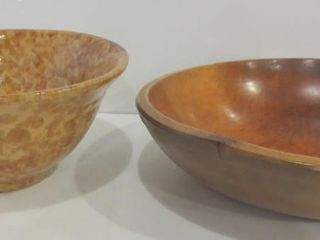 YEllOW WARE  10  AND WOODEN  12  BOWlS