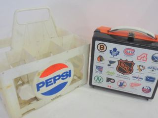 PlASTIC PEPSI CASE AND NHl lUNCH BOX