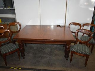 SOlID MAHOGANY DINING TABlE TURNED lEGS  CRANK