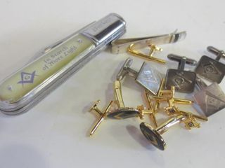 MASONS CUFFlINKS   2 PAIRS STERlING OTHERS GOlD