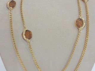 GIlDED CHAIN NECKlACE WITH AMBER COlOURED BEADS