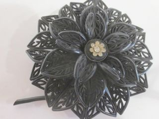 CEllUlOID BROOCH   lACY PATTERN WITH RHINESTONES