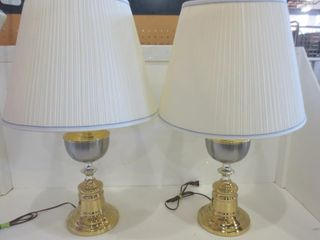 PAIR OF GOlD AND SIlVER TONED TABlE lAMPS WITH