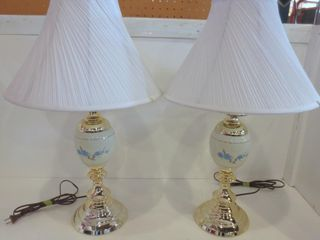 PAIR OF BRASS AND CERAMIC BASED TABlE lAMPS WITH