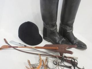 RIDING BOOTS  SIZE 10 5  SAFETY HElMET  CROPS