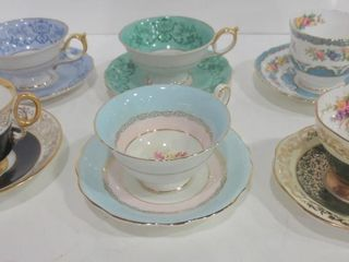 TEACUPS AND SAUCERS   CROWN STAFFORDSHIRE  FOlEY