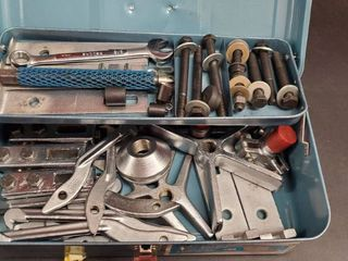 Various Hardware With Metal Toolbox