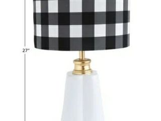 Ceramic lamp with Plaid linen Shade