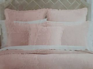 Five Queens Court Hattie Quilted Sham with Ruffle Flange  Color Blush