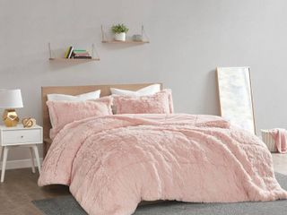 King California King leena Shaggy Faux Fur Comforter Set   Blush